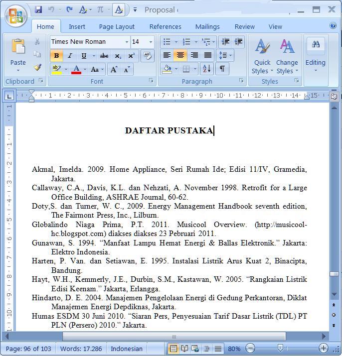 Merubah Format Daftar Pustaka Dalam Ms Word 2007